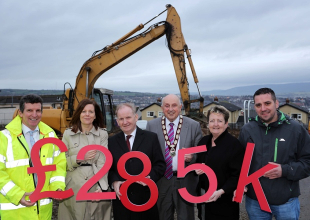Social Development Minister Lord Morrow and the Deputy Mayor of Derry and Strabane District Council, Alterman Thomas Kerrigan, pictured at the sod cutting for the new Rose Court play park with Colum McNicholl, JPM Contracts Ltd, Allison Wallace, Strategy Manager, Waterside Neighbourhood Partnership, Geraldine O'Donnell, Strategic Development Manager, Hillcrest Trust, and Councillor Christopher Jackson.